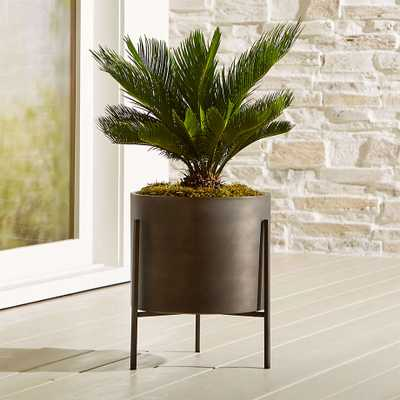 Dundee Low Planter with Stand / BRONZE - Crate and Barrel