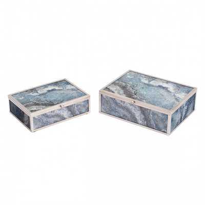 Mundi Set of 2 Boxes Silver Geode - Zuri Studios