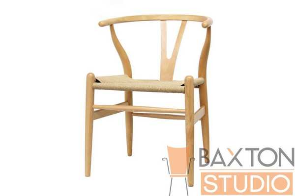 BAXTON STUDIO WISHBONE CHAIR - NATURAL WOOD Y CHAIR (Set of 2) - Lark Interiors