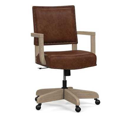 Manchester Leather Swivel Desk Chair, Seadrift Frame, Statesville Molasses - Pottery Barn