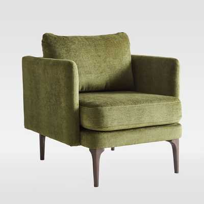 Auburn Chair, Distressed Velvet, Olive, Dark Mineral, Poly - West Elm