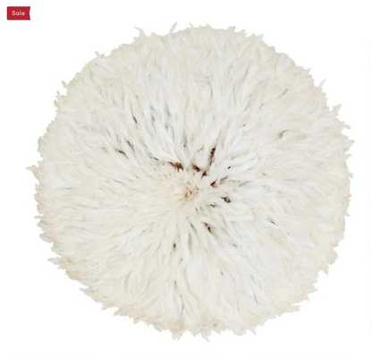 White Natural Feather Juju Hat Wall Decor - World Market/Cost Plus
