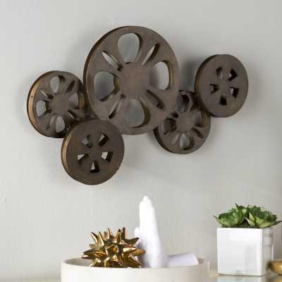 Decorative Bronze Metal Movie Reel Sculpture Wall Decor - Wayfair