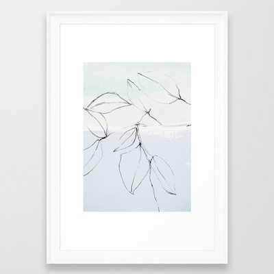 "leaves on pastel blue & mint Framed Art Print 15 x 21"" - Society6"