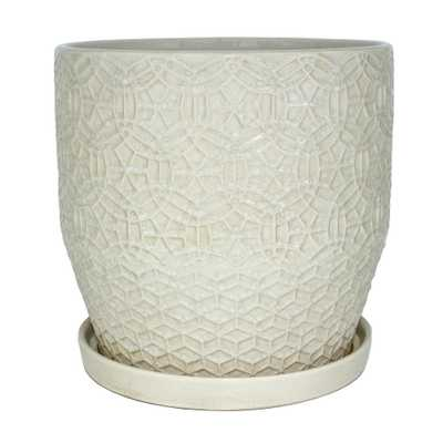 10 in. Dia Ceramic White Rivage Planter- - Home Depot