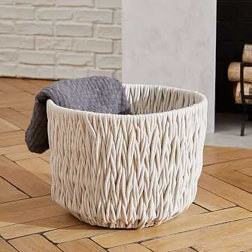 Chunky Weave Large Basket, Ivory - West Elm