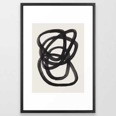 Mid Century Modern Minimalist Abstract Art Brush Strokes Black & White Ink Art Spiral Circles Framed Art Print 26 x 38 - Society6