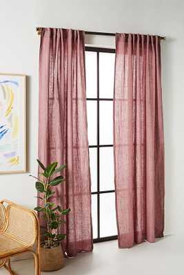 """Stitched Linen Curtain - 96"""" x 50"""" - rose - Anthropologie"""