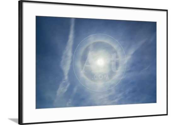 Halo around Full Moon in a Sky of Cirrus Clouds and Contrails - Ronda Li Black Frame - art.com