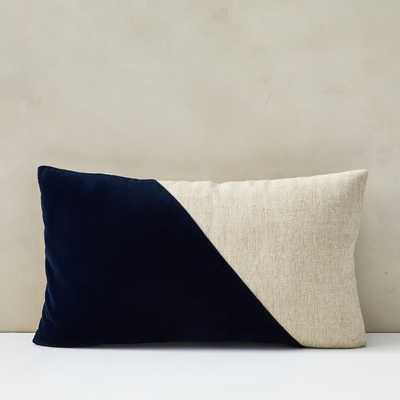 Cotton Linen + Velvet Corners Pillow Cover, Midnight - West Elm