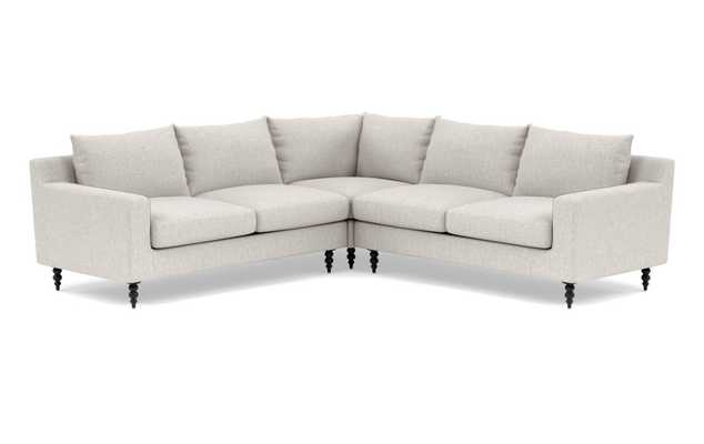 SLOAN Corner Sectional Sofa in Wheat with Matte Black Tapered Turned Wood Leg - Interior Define