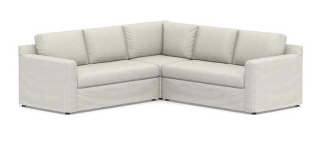 Shasta Square Arm Slipcovered 3-Piece L-Sectional, performance heathered basketweave, dove - Pottery Barn