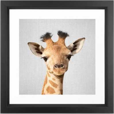 Baby Giraffe - Colorful Framed Art Print 12 x 12 - Society6