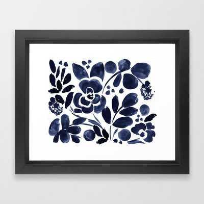 "Navy Floral Framed Art Print - 10""x12"" - Society6"