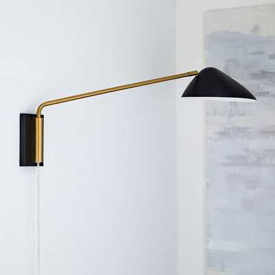New Curvilinear Mid-Century Sconce, Long Arm, Black,Brass - West Elm