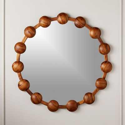 "Pinto Acacia Round Mirror 36"" - CB2"