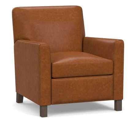 Howard Leather Recliner, Polyester Wrapped Cushions, Statesville Caramel - Pottery Barn
