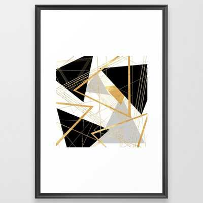Black and Gold Geometric Framed Art Print - Society6