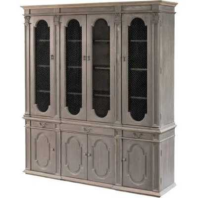 Evan French Country Grey Reclaimed Pine Wood China Cabinet - Kathy Kuo Home