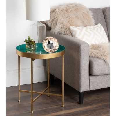 Kriebel Tray Table - Gold Base, Teal Top - Wayfair