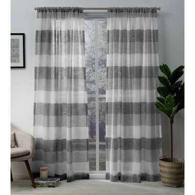 Bartow Striped Sheer Rod Pocket Curtain Panels - Wayfair