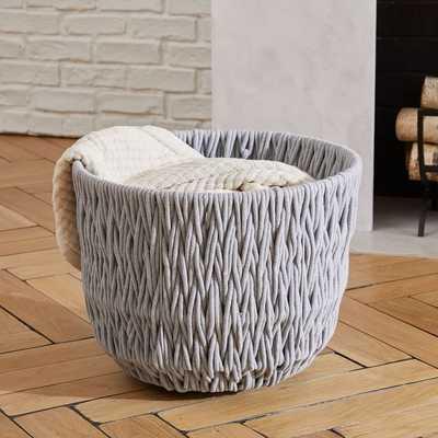 Chunky Weave Large Basket, Gray - West Elm