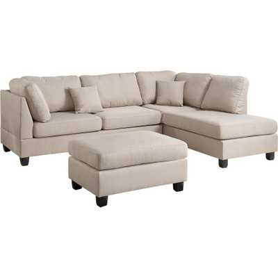 Madrid 3-Piece Reversible Sectional Sofa in Sand with Ottoman - Home Depot