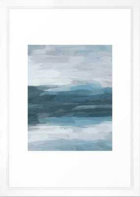 Teal Ocean Blue Gray Abstract Nature Art Painting Framed Art Print - Society6