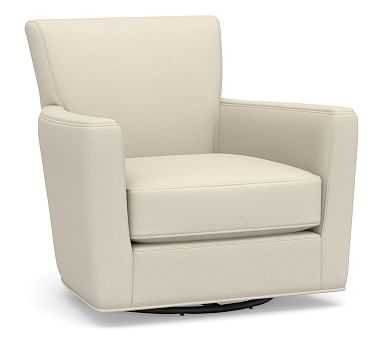 Irving Square Arm Upholstered Swivel Armchair without Nailheads, Polyester Wrapped Cushions, Performance Brushed Basketweave Ivory - Pottery Barn