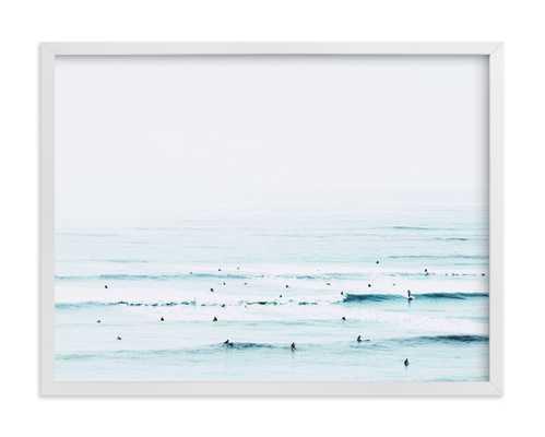 "The Sunday Blues - 24 x 18"", White Wood Frame - Minted"
