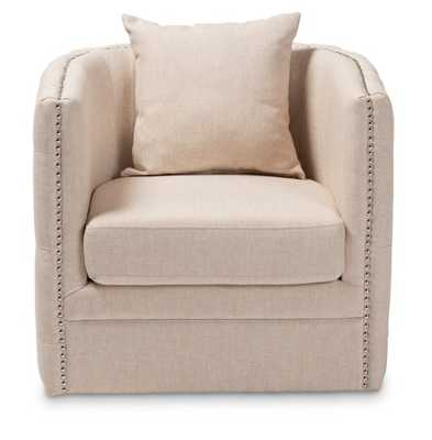BAXTON STUDIO MICAH MODERN AND CONTEMPORARY BEIGE FABRIC UPHOLSTERED TUFTED SWIVEL CHAIR - Lark Interiors