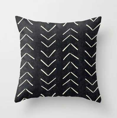 20 x 20 Mudcloth Big Arrows in Black and White Throw Pillow - Society6