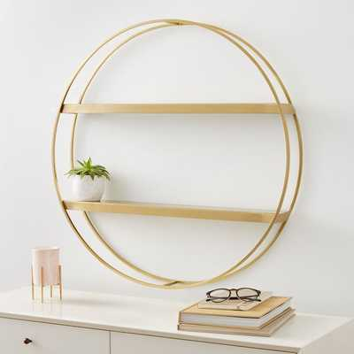 Deco Round Metal Shelf, Brass - West Elm
