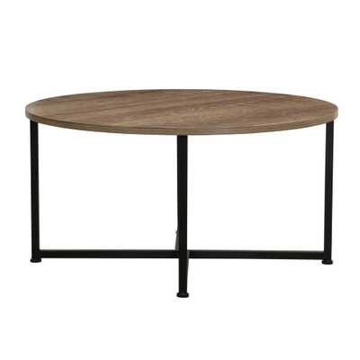 Ashwood Round Coffee Table in Light Wood, Gray - Home Depot