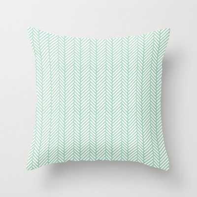 Herringbone Mint Throw Pillow - Society6