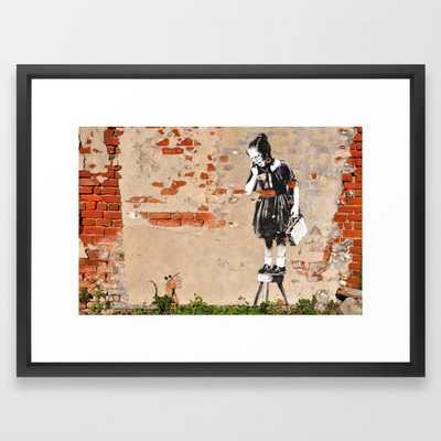 Banksy - Girl on Stool Framed Art Print - Society6