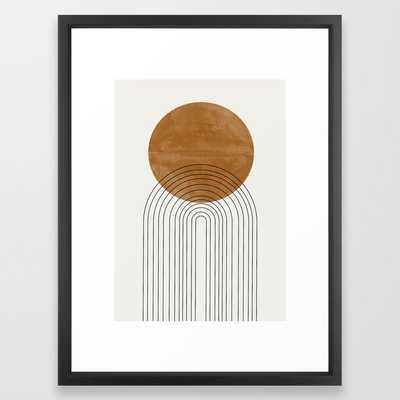 Stripes Black & White Minimalist Abstract Mid century Ink Art Dark Brush Strokes Framed Art Print - Society6