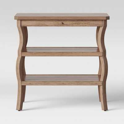 Shelburne Wood Nightstand with Open Shelves Brown - Threshold - Target