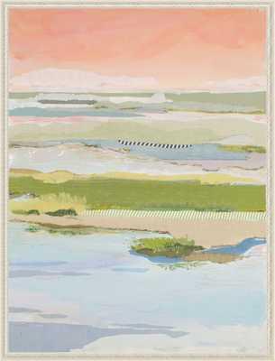 "Marsh Blush East -  Antique White Wood Frame - 26"" x 34"" - Artfully Walls"