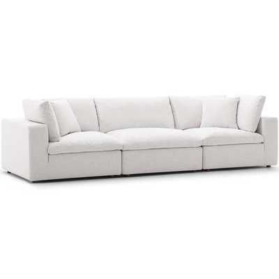 COMMIX DOWN FILLED OVERSTUFFED 3 PIECE SECTIONAL SOFA SET IN BEIGE - Modway Furniture
