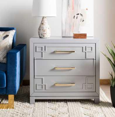 Raina 3 Drawer Chest - Grey/Gold - Arlo Home - Arlo Home