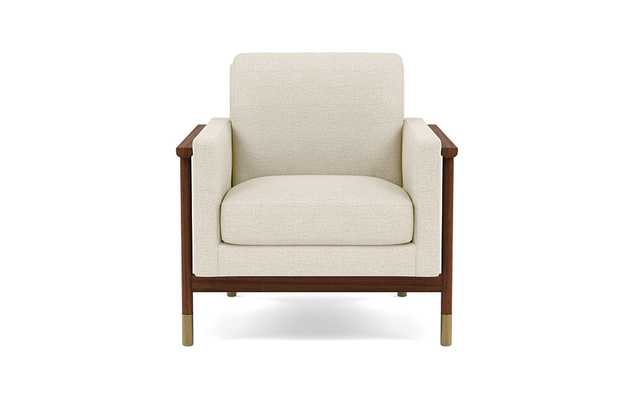 Jason Wu Petite Chair with Oat Performance Pebble Knit and Oiled Walnut with Brass Cap legs - Interior Define