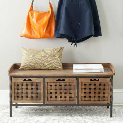 Isaac 3 Drawer Wooden Storage Bench - Oak - Arlo Home - Arlo Home