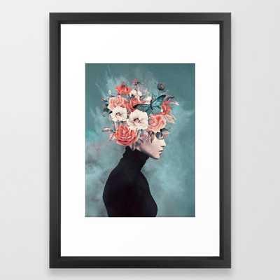 "blooming 3 Framed Art Print - 15"" X 21"" - vector black - Society6"