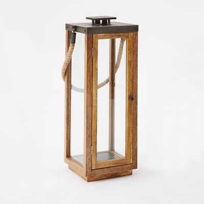 Wood + Rope Lantern, Natural/Grey, Tall - West Elm