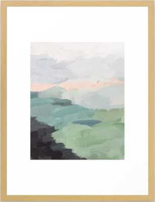 Seafoam Green Mint Black Blush Pink Abstract Nature Land Art Painting Framed Art Print - 20x26 - Society6