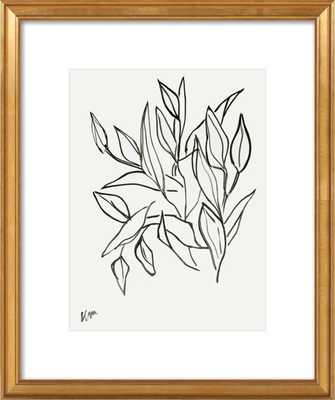 "Lilies - 20x24"" - Gold Leaf Wood Frame with Matte - Artfully Walls"