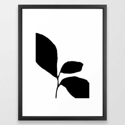 Three Leaf Seedling - Black and White Botanical Framed Art Print - Society6