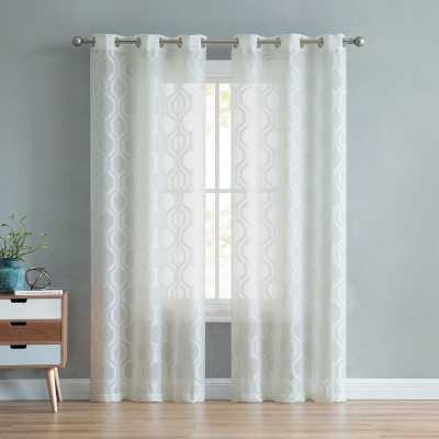Nigel Geometric Semi-Sheer Grommet Curtain Panels - Wayfair