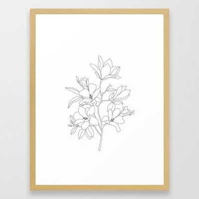 Minimal Line Art Magnolia Flowers Framed Art Print - Society6